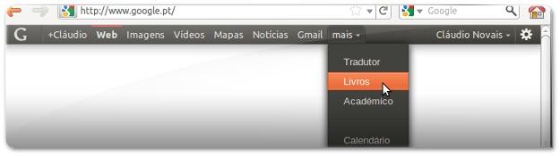 Menu da Google com visual do Ubuntu