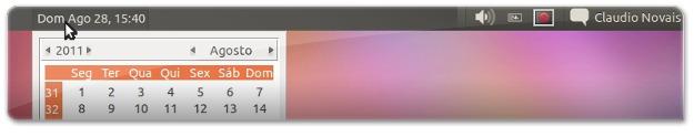 Calendário no centro da barra do Ubuntu
