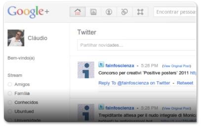 Fluxo do Twitter no Google Plus