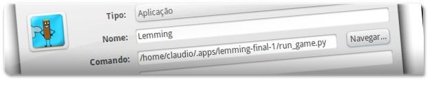 A criar atalho para o Lemming