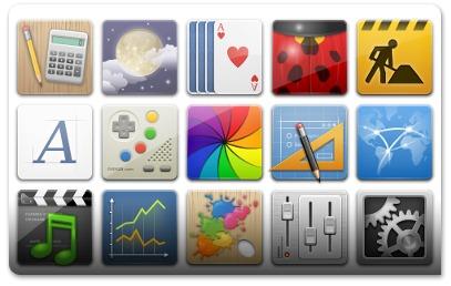 As categorias dos menus têm ícones de alta qualidade