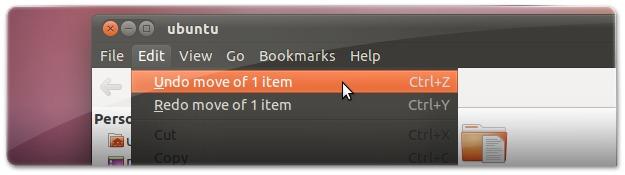 Como retroceder/desfazer ações (CTRL+Z) no explorador de ficheiros do Ubuntu