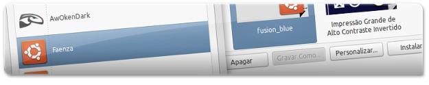 A escolher o tema e ícones do Fusion Blue