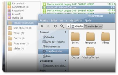 As etiquetas podem dar origem a pastas para melhor organizar os downloads
