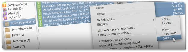 A definir etiqueta para aquele conjunto de downloads selecionados