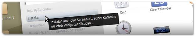 Clique neste botão para instalar uma nova Screenlet