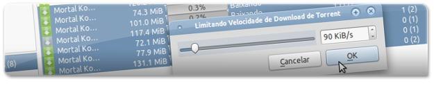 A limitar a velocidade de download das transferências
