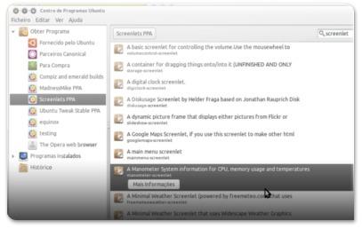 Lista de screenlets disponíveis nos repositórios das Screenlets