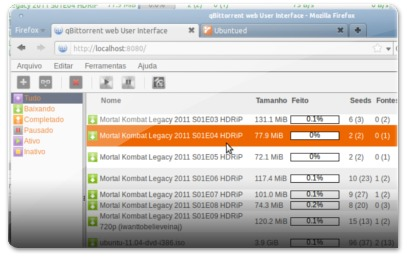 qBitTorrent acedido pelo Firefox