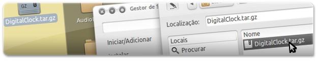 A selecionar ficheiro transferido para instalar a nova Screenlet