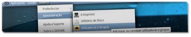 """A abrir aplicação """"Utilizadores e Grupos"""""""