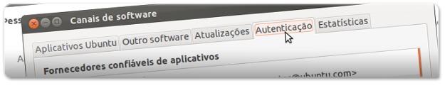 Aba autenticação contém as chaves de autenticação adicionadas ao seu Ubuntu