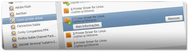 Instalação de drivers adicionais para impressoras Canon