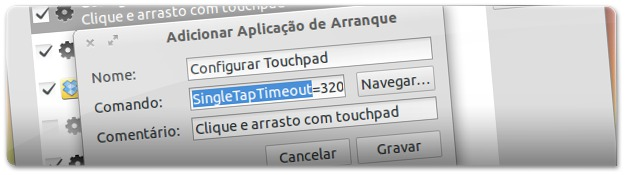 A adicionar ao arranque as definições do touchpad
