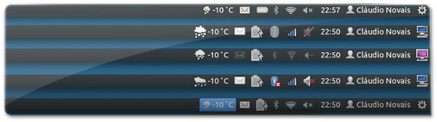 Diferentes temas de ícones porporcionam diferentes apresentações do Indicador