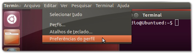 Preferencias do terminal no UbuntuM