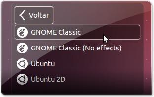 A escolher ambiente do Gnome Classic