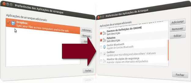 Aplicativos de arranque do UBuntu
