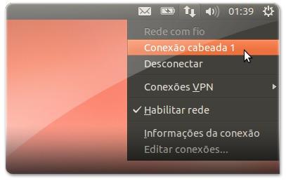 ligar à rede internet ubuntu