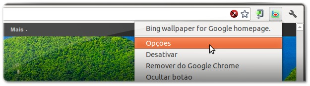 Opções do Bing wallpaper on Google