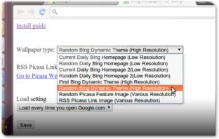 Opções da Extensão Google Bing Wallpaper