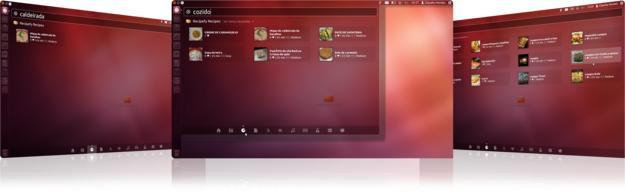 Ubuntu Unity com pesquisa de receitas de culinária