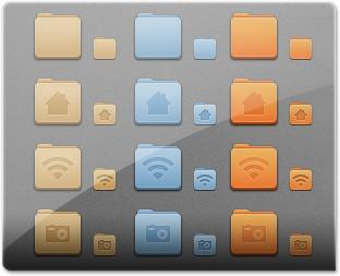 Existe 3 subconjuntos de ícones Faeince