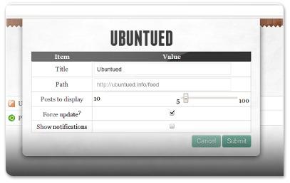 Opções de um site no RSS Feed Reader