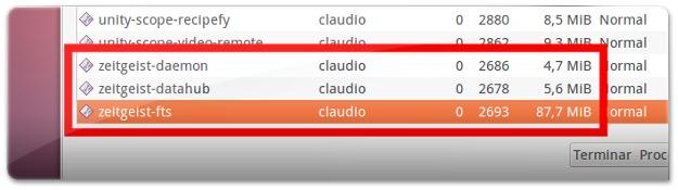 Zeitgeist a gastar muita memória no Ubuntu