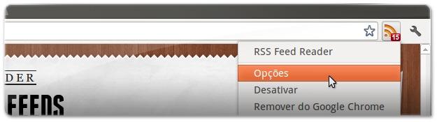 aceder às opções do RSS Feed Reader no Google Chrome