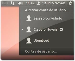 Indicador para trocar de utilizador, com a sessão convidado