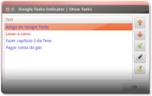 A gerir tarefas do Google Tasks Indicator