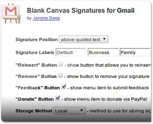 Opções do Blank Canvas