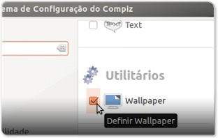 2 - A ativar o plugin Wallpaper no Sistema de Configuração do Compiz