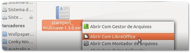 2 - a abrir extensão multiSave do LIbreOffice