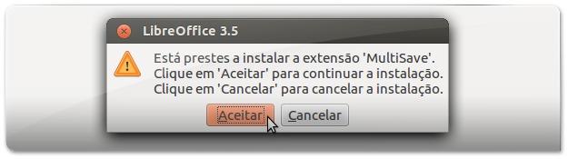 3 - A aceitar instalar a extensão do MultiSave
