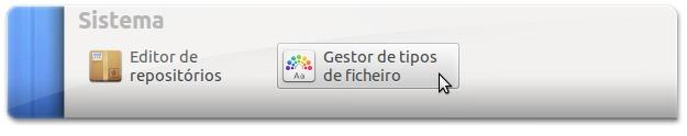 Abrir secção de gestão de tipos de ficheiro