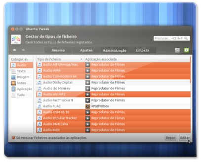 A selecionar várias extensões para editar a aplicação pre-definida no Ubuntu
