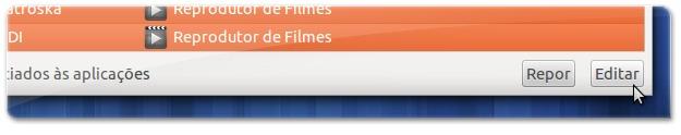 Clique no botão editar para alterar a aplicação pre-definida dos tipos de ficheiro