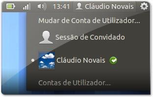 Barra do Ubuntu com o nome do utilizador