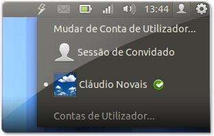 Barra do Ubuntu sem o nome do utilizador