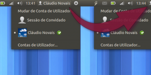 Barra do Ubuntu sem o nome do utilizadorSLIDER