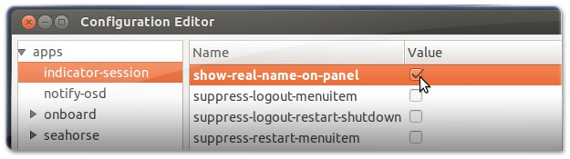 DConf-Editor a remover o nome do utilizador do painel do Ubuntu