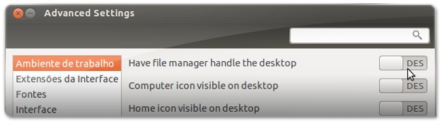 Gnome-Tweak-Tool - a desativar ficheiros da area de trabalho