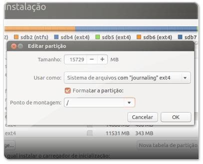 A definir a partição da raiz do Ubuntu