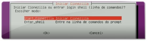 Inicie o Clonezilla
