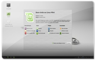 Linux Mint 14 Nadia no início.