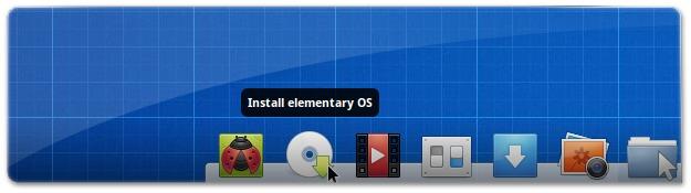 Clique neste ícone para inciar a instalação do elementaryOS