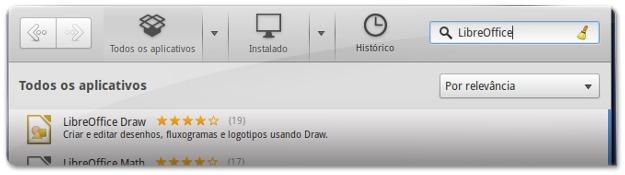 A procurar pelo LibreOffice no ElementaryOS