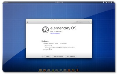 Aspecto do elementary OS inicial